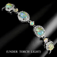 Unheated Oval Fire Opal Rainbow Full Flash 7x5mm Cz 925 Sterling Silver Bracelet
