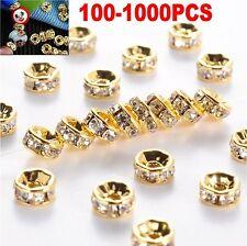 1000 Stücke 6mm Rund Strass Perlen Beads Spacer Rondelle Gold Basteln DIY Neu