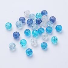 24 Stück Crackle Crash Glas Glasperlen 8 mm Perlen blau türkis weiß durchsichtig