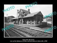 OLD LARGE HISTORIC PHOTO OF SYKESVILLE MARYLAND, RAILROAD DEPOT STATION c1900