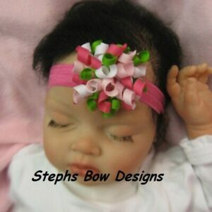 Apple Shock Soft Pink Dainty Korker Hair Bow Headband FITS Preemie to Toddler