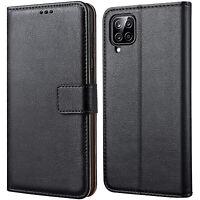 Coque Pour Samsung Galaxy A12 Étui Portefeuille en Cuir Noir + Verre Trempé