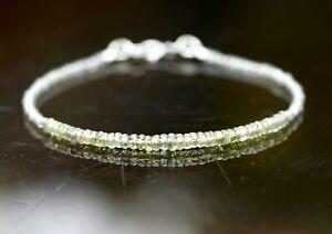 Labradorite Green Sapphire Bracelet Solid 14k White Gold , September birthstone