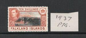 FALKLAND ISLANDS  George VI SG162 1st Ptg. 37 lightly hinged  condition.
