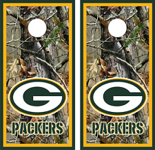 Green Bay Packers Realtree Design Cornhole Board Skin Wrap Decal Set of 2