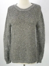 Forever 21 Metallic Silver Sweater (S) Pullover Jumper Open Knit Crochet Slouch