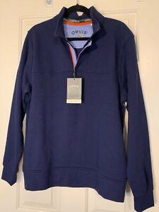 NWT Men's Orvis Navy Signature Sweatshirt 1/4 Zip Size M