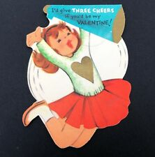 Vtg 40s 50s Cheerleading Die Cut Valentines Card Cheerleader Cheer Sport Jump