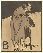 William Nicholson Gravure sur bois Imprimer 1898 B pour mendiant Alphabet Lithographie 1975