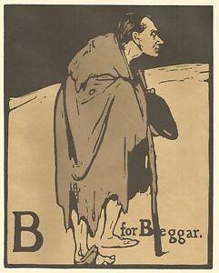 William Nicholson Woodcut Print 1898 B for BEGGAR Alphabet Lithograph 1975