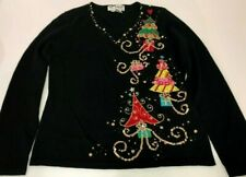 Jack B Quick Christmas Sweater Small Trees Applique Sequins V-Neck Black Holiday