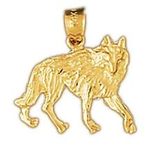 14k Yellow Gold COYOTE WOLF Pendant / Charm, Made in USA