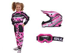 Kids Wulfsport Wulf MX Kit Motocross Helmet Goggles Overall Pink Camo Set #PO4