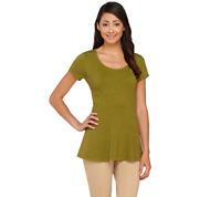 Isaac Mizrahi Live Short Sleeve Peplum Knit Top Size S Olive Green Color