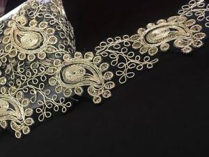 Gold Fancy Sequin Lace Trim Bridal Wedding Ribbon Craft NET Border 1 yard x 5cm