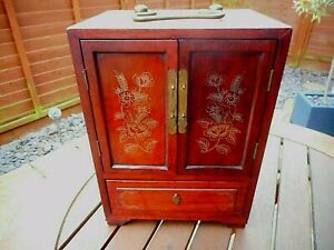 VINTAGE JAPANESE WOODEN JEWELLERY CABINET WITH SILVER INLAY FLORAL DOORS
