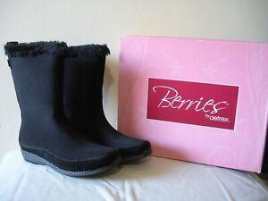 OH~! NIB $175 AETREX BLACKBERRY Black Furry Waterproof Flat Midcalf Boots 7M