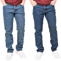 Mens Regular Fit Jeans Denim Pants Cotton Straight Leg Trousers Casual Bottoms