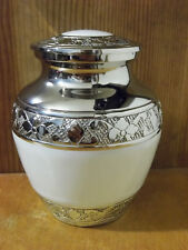 """Smaller Pearly White on Plated Nickel Solid Brass Urn~~4""""~Infant~ up to 18Lbs"""