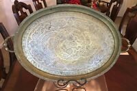 """ANTIQUE LARGE ISLAMIC ARABIC CALLIGRAPHY OVEL BRASS TRAY STAMPED SYRIA 27"""" X 18"""""""
