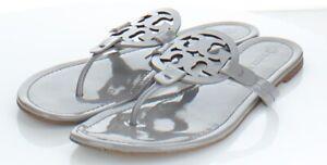 12-74 $198 Women's Sz 11 M Tory Burch Miller Patent Leather Flip Flop Sandals
