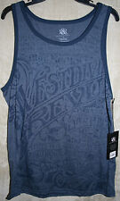 NWT Rock & Republic sleeveless Crew Muscle Tee Tank Top Text L mens 100% Cotton