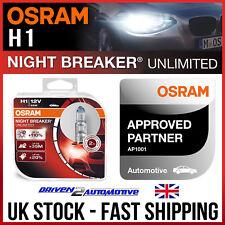 4x H1 OSRAM NIGHTBREAKER UNLIMITED BULBS (2 PACKS) SUPER BRIGHT HEADLIGHT BULBS