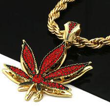 """16k Hip Hop Style Gold/Red Plated Cz Marijuana Leaf Pendant 9mm 24"""" Rope Chain"""