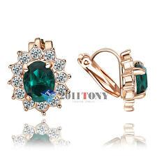 18K Rose GP Swarovski Crystal Jewelry Green Gemstone Sunflower Clip-on Earrings