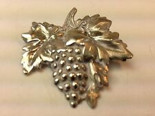 Vintage Sterling Silver by Jewelart Grape Cluster w/Large Leaves Brooch Pin