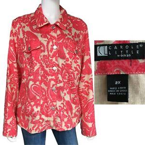 Carole Little Woman 100% Linen Fuchsia Pink Floral Paisley Casual Jacket Size 2X
