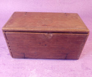 Antique 1889 SINGER Sewing Machine Attachment Oak Puzzle Box with Metal Fittings