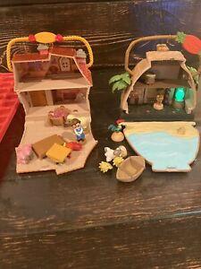 2 Disney Store Animators Collection BELLE Mini House Play Set COTTAGE ++++