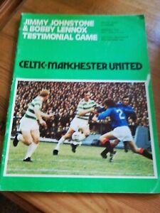 1976 Celtic v Manchester United J.Johnstone & B. Lennox test match programme