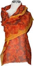 Feiner Schal 100% Wolle Floralmuster Orange Terracotta wool scarf écharpe flower