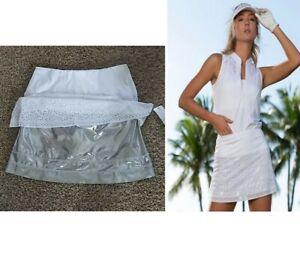 Nwt Lucky in Love Metallic Laser Golf Skirt Skort Shorts M Medium white silver