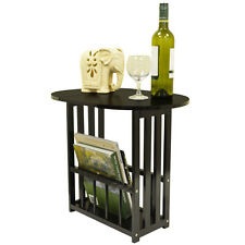 HAUGHTON - Wood Swivel Top Side / End Table with Storage Rack - Dark Oak LS0903