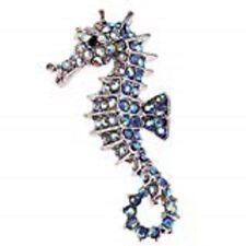 BLUE AURORA BOREALIS CRYSTAL SEAHORSE BROOCH! SILVER TONE! NEW!