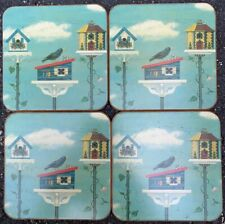 Set of (4) Four Pimpernel England Birdhouse Bird Coasters Glasses Cups Holders