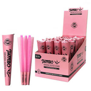 Jumbo Pink King Size Pre-Rolled Cones Cigarette Smoking 3 Cones Per Pack UK