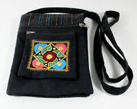 Black Fabric Cross Body Passport Bag Hand Embroidered in India 2 Sides 3 Pockets