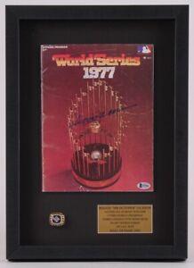 REGGIE JACKSON SIGNED 1977 WORLD SERIES PROGRAM SHADOWBOX w/ CHAMPIONSHIP RING