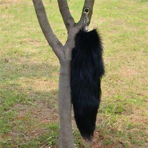 Large Black Real Fox Cosplay Tail Fur Tassel Bag Tag Accessory Keyrings US Stock