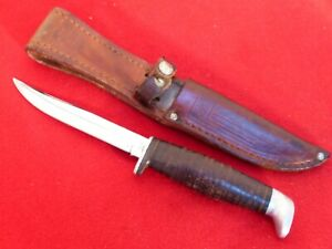 Case XX USA 1960's era Leather handled 3 FINN fixed blade knife & sheath