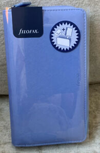 Filofax Saffiano Compact Organiser Vista Blue Leather-Look Cover Zipped Closure.