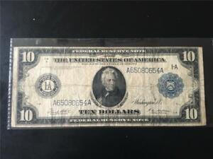 """CHOICE FINE RARE TYPE""""B"""" 1914 $10 FR907B MINNEAPOLIS FRN << A 65080654 A >>"""