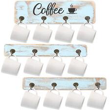 Coffee Mug Holder Rustic Mug Rack Wall Mount w/ Coffee Sign Cup Hanger Organizer