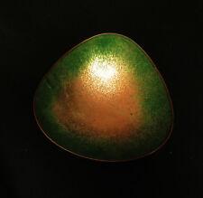 7291:Schöne Kupfer-Emaille Schale,grün, mit Standfuss,13,5cmØ,gebraucht.