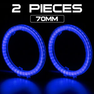 2X COB Angel Eye LED Halo Ring 70mm For Projector Lens Car Headlight Driving DRL