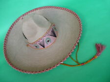 Mexican vintage sombrero antique heavy decorated hat, woven straw early 1900s